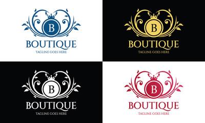 Boutique logo design template ,Luxury logo design concept ,Vector illustration