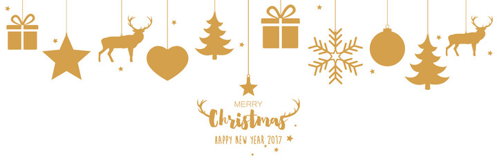Merry Christmas and Happy New Year 2017 ! Hanging gold decorations
