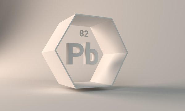 3d rendering white color periodic table illustration background  lead