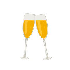 New year champagne glasses. Cartoon icon. Isolated object on white background. Vector illustration.