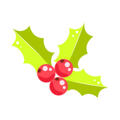 Holly berry Christmas vector icon. Holiday traditional symbol plant for decor.