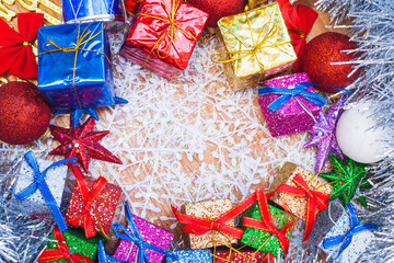 Christmas decoration with gifts and star