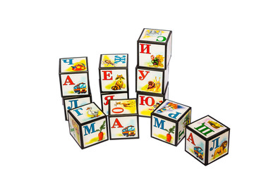children's blocks with letters on a white background