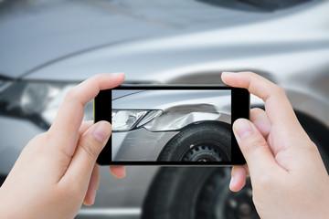 woman using mobile smartphone take photo car crash accident