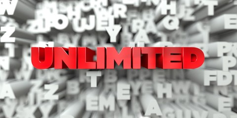 UNLIMITED -  Red text on typography background - 3D rendered royalty free stock image. This image can be used for an online website banner ad or a print postcard.