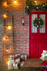 Christmas photo zone in vintage style
