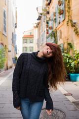 Posing woman in sweater