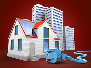 3d illustration of modern house over red background with city and power cable