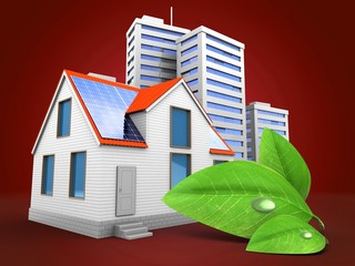 3d illustration of modern house over red background with city and green leaf