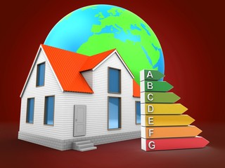 3d illustration of house over red background with earth globe and efficient ranks