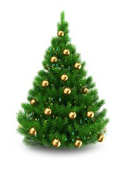 3d illustration of green Christmas tree over white background with lights and golden balls
