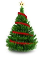3d illustration of green Christmas tree over white background with red tinsel and golden star