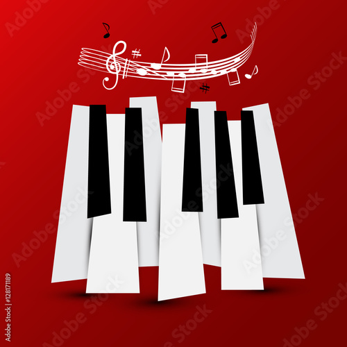 Music Symbol  Vector Piano Keys with Staff and Notes
