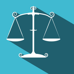Justice Scales. Vector Flat Design Long Shadow Symbol on Blue Background.