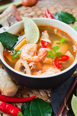 Tom Yum goong nam sai ต้มยำกุ้งน้ำใส - famous broth Thai soup with prawns  and kaffir leaves.
