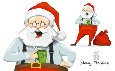 Santa Claus drinking hot coffee