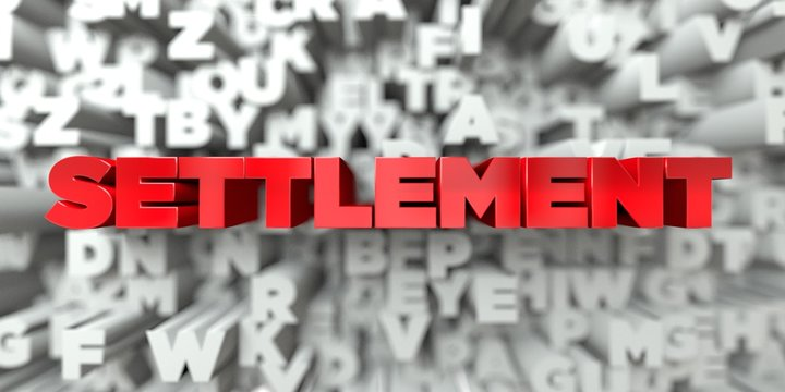 SETTLEMENT -  Red text on typography background - 3D rendered royalty free stock image. This image can be used for an online website banner ad or a print postcard.