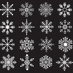 Chalkboard Snowflakes Silhouette