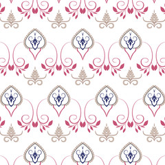 Village floral folk pattern of interwoven flowers and leaves.