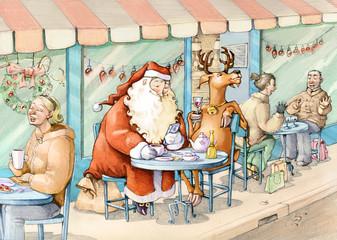 Santa Claus at the bistro