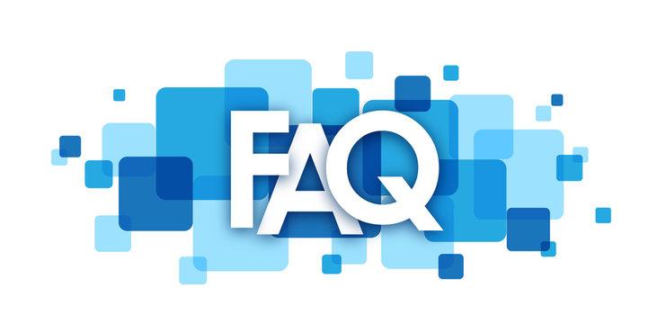 """FAQ"" blue vector letters icon"