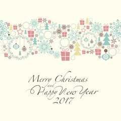 At the top of the card contains the Christmas decorations and symbols of Christmas and new year. At the bottom of the postcard the phrase merry christmas and happy new year and number 2,0,1,7.