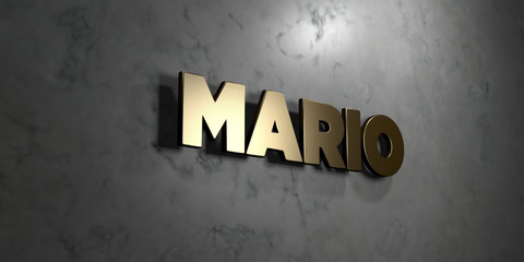 Mario - Gold sign mounted on glossy marble wall  - 3D rendered royalty free stock illustration. This image can be used for an online website banner ad or a print postcard.