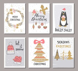 Merry Christmas greeting card set with cute xmas tree, gloves, hat, penguin and other elements. Cute Hand drawn holiday cards and invitations.