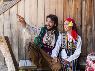 Couple in Bulgarian traditional dress