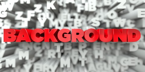 BACKGROUND -  Red text on typography background - 3D rendered royalty free stock image. This image can be used for an online website banner ad or a print postcard.