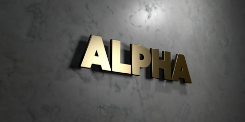 Alpha - Gold sign mounted on glossy marble wall  - 3D rendered royalty free stock illustration. This image can be used for an online website banner ad or a print postcard.