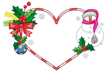 Heart-shaped frame with Christmas decorations and smiling snowman in funny hat.