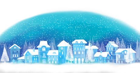 Christmas background. Winter town. Urban winter landscape. Cityscape.