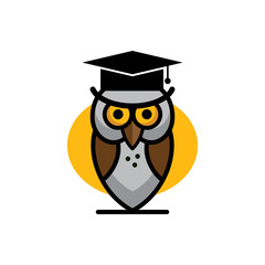 Flat education elements owl, diploma. Vector illustration.