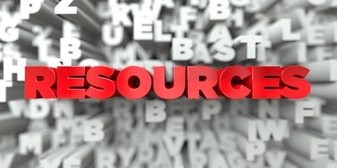 RESOURCES -  Red text on typography background - 3D rendered royalty free stock image. This image can be used for an online website banner ad or a print postcard.