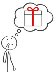 Strichmännchen denkt über die Wünsche und ein passendes Geschenk für Weihnachten nach