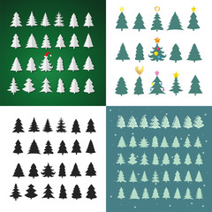 Set of Christmas tree silhouette design vector set. Concept tree