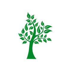 Tree shape and foem symbol. Green tree vector icon logo isolated. Natural eco product logo