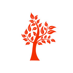 Tree shape and foem symbol. Orange tree vector icon logo isolated. Natural eco product logo