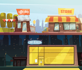 Store Buildings Banners Set