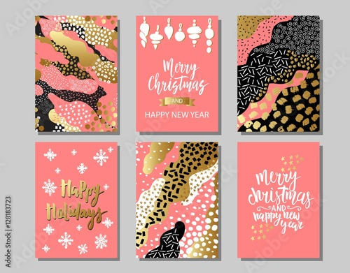 set of merry christmas and happy new year card template hand drawn