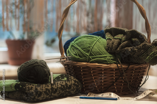 Knitting Freelance : Quot knitted norway sweater with knitting needles and wool