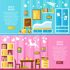 Baby Room Interior Horizontal Banners