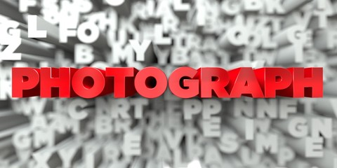 PHOTOGRAPH -  Red text on typography background - 3D rendered royalty free stock image. This image can be used for an online website banner ad or a print postcard.
