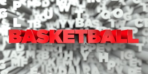 BASKETBALL -  Red text on typography background - 3D rendered royalty free stock image. This image can be used for an online website banner ad or a print postcard.