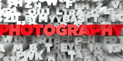 PHOTOGRAPHY -  Red text on typography background - 3D rendered royalty free stock image. This image can be used for an online website banner ad or a print postcard.
