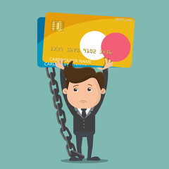 Business man carrying debt Credit card , Debt concept  - vector illustration