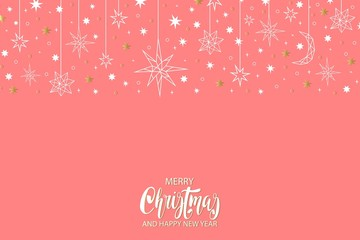 Merry Christmas and Happy New Year luxury gold pattern on blue background with stars and holiday elements.