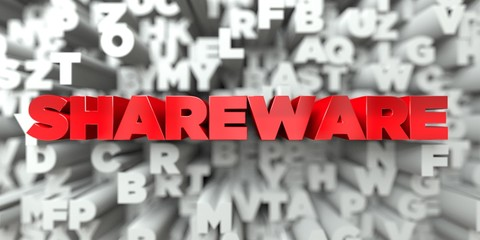 SHAREWARE -  Red text on typography background - 3D rendered royalty free stock image. This image can be used for an online website banner ad or a print postcard.