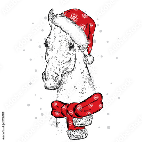 Christmas Horse Drawing.Beautiful Horse In A Christmas Hat And Scarf Vector